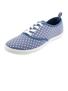 Best for Channeling TSwift: Charlotte Russe Canvas #PolkaDot Lace-Up #Sneaker, $12.50; charlotterusse.com