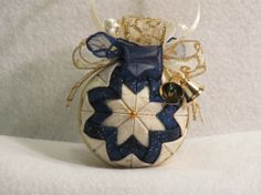 Quilted Christmas Ornament no sew beige with by KCFabricOrnaments, $15.00