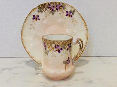 Limoges France Hand Painted Violet Demitasse Cup Saucer, Barny & Rigoni, c1904-6