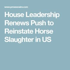 House Leadership Renews Push to Reinstate Horse Slaughter in US