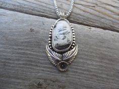 White Buffalo turquoise necklace handmade in sterling silver by Billyrebs on Etsy