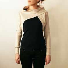 *Womens light brown cotton jersey long sleeve shrug bolero with boat neck*  Simple, comfortable and original bolero inspired from geometrical shapes.
