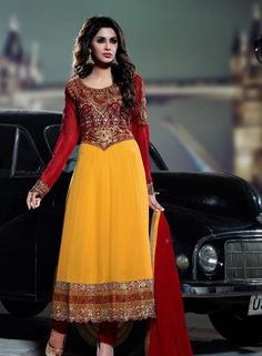 Wedding Wear Yellow  Designer Anarkali With Chudidar .  Shop at - http://www.gravity-fashion.com/wedding-wear-yellow-designer-anarkali-with-chudidar.html