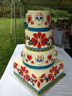 Day of the Dead Wedding Cake...frosted in buttercream with fondant appliqué.
