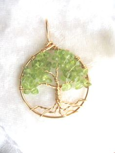 Peridot Necklace Tree of Life Pendant Jewelry - August Birthstone Birthday bff Valentine 14kt gold filled. $42.00, via Etsy.