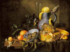 Jan Davidz, still life with Motto and Lenten food 17th century