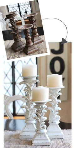 March Madness 2016 31 Thrifty makeovers in 31 Days - Unique ideas - Candlesticks updated with chalk paint from Confessions of a Serial Do-it-Yourselfer Informations Abo - Do It Yourself Furniture, Do It Yourself Home, Paint Furniture, Furniture Makeover, Space Furniture, Home Crafts, Diy Home Decor, Diy Casa, Chalk Paint Projects