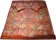 This dreamlike hand embroidered bedspread will definetly enchant you!  it is made of 100% cotton, fully embroidered with silk thread stitch and small mirrors (soft plastik not glas) and many beautiful details in oriental - bohemian style included are 2 15,7 inches cushion covers bring the colours of India to your home! this bedspread - throw is apprioimately 3,5 kg heavy and measures 80,7inches * 95 inches  if you have anymore questions, please feel free to ask  love and light Sahera