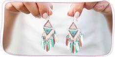 Jak zrobić kolczyki indiańce? Tutorial na kolczyki z frędzlami Beaded Earrings, Drop Earrings, Beading Tutorials, Beads, Blog, Diy, Jewelry, Decor, Indian Earrings