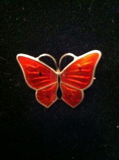 Norwegian Guilloche Enamel on Sterling Silver Butterfly Red Orange   eBay