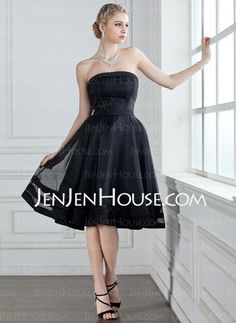 Bridesmaid Dresses - $99.99 - A-Line/Princess Strapless Knee-Length Organza Satin Bridesmaid Dress (007001813) http://jenjenhouse.com/A-Line-Princess-Strapless-Knee-Length-Organza-Satin-Bridesmaid-Dress-007001813-g1813