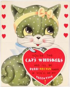 J1595 50s You're the CAT's WHISKERS! Toy Calico-Vintage Diecut Valentine Card