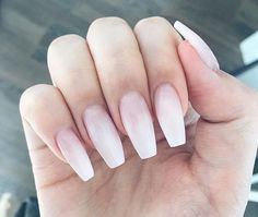 Fade white to pink nails