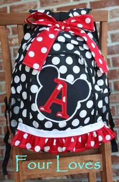 Girls Full Size Minnie Mouse Backpack...Black and White Polkadot. LOVE this if I ever had a little girl :)