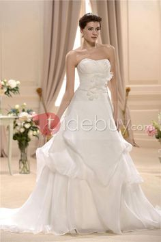 Elegant A-Line Strapless Chapel Train Ruched Plus Size Wedding Dress