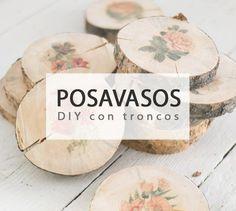 Crea originales posavasos #diy con troncos de madera
