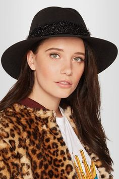 Maison Michel - Virginie Tinsel-trimmed Rabbit-felt Hat - Black - M
