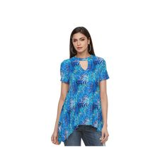 Women's Jennifer Lopez Keyhole Handkerchief Tee, Size: Medium, Blue (Navy)