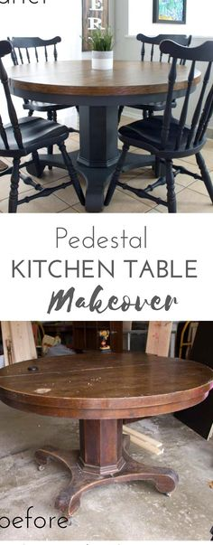 A antique store score gets a makeover and a whole new life when I get my hands on this antique pedestal round table Learn how to refurbish this old dining room table How to sand and pick the right paint for a new look all found here! #furniture #makeover #DIY Dining Table Makeover, Round Dining Table, Dining Room Table, Diy End Tables, Diy Table, Diy Furniture Easy, Furniture Makeover, Refurbished Table, Craft Tables With Storage