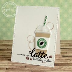 Handmade Card by Simonne Clay for SugarPea Designs. SugarCut Dies: Coffee Words and Coffee To Go Cup. Handmade Birthday Cards, Greeting Cards Handmade, Cute Cards, Diy Cards, Stampin Up Katalog, Coffee Theme, Coffee Cards, Caffeine Addiction, Scrapbook Cards