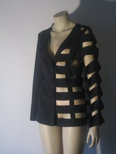 1980's Black Jacket  Vintage 1980's Glam Wool by mijumaju on Etsy, $150.00