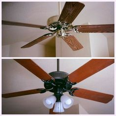 Ceiling fan makeover an easy diy ceiling fan makeover tutorial before and after ceiling fan painted brass with rubbed bronze spray paint 6 flipped aloadofball Gallery