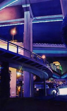 """Shanghai Skyway"" 36x22"" watercolor by Paul Jackson"