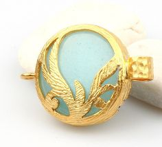 Baby Blue Fretwork Jade Connector Gold Plated by ShiShisBoutique, $8.00