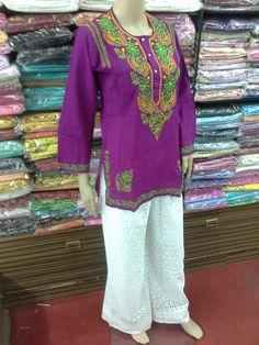 Cotten Kurti Lucknow Chikan Ghaas Patti Embroidery [*Sfq*]