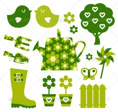 Garden objects and elements - green