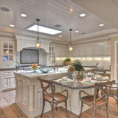 kitchen+islands+with+tables+attached | bright kitchen a showplace. The dining table attached to the island ...