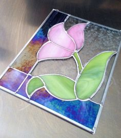 Pink Tulip Stained Glass Panel by AphroditesTreasure on Etsy by zelma