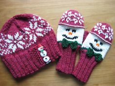 Ravelry: Project Gallery for Snowman Hat and Mitten Set pattern by Wendy Gaal