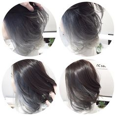 Image result for lilac highlights on black hair bob