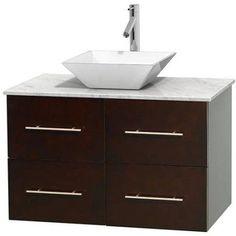 Wyndham Collection Centra 36 inch Single Bathroom Vanity in Espresso, White Carrera Marble Countertop, Pyra Bone Porcelain Sink, and No Mirror