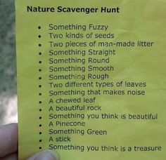 "Camping scavenger hunt:  write items on a paper bag so the kids have something to put their ""finds"" in."