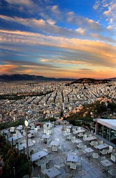 On Lycabettus hill there is a coffee-bar-restaurant, where you can seat, relax and enjoy the view. #Greece #Athens #kitsakis