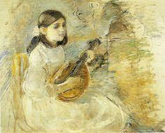 """Berthe Morisot (1841-1895) ~ """"Fillette à la Mandoline"""", 1892, réalisé au Château du Mesnil en Normandie"""