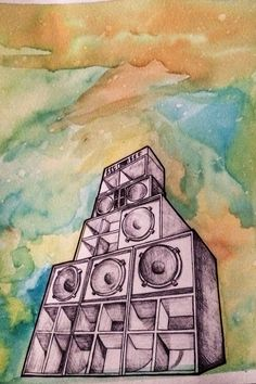 Sound System artwork by Leyla Dubwarrior ! Techno, Dj Tattoo, Reggae Art, South Afrika, Systems Art, Scary Tales, Sound Speaker, Art Vintage, Underground Music