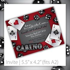 poker night (or 'get lucky' theme) party invitations | party, Party invitations