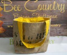 Recycled Coffee Bean Burlap Tote Mustard Yellow Lining