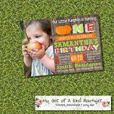 Little Pumpkin birthday invitation fall autumn by myooakboutique