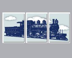 Vintage Train Wall Decor, Vintage Train Decor, Boys Nursery Wall Decor, Boys Nursery Art, Playroom W Playroom Wall Decor, Nursery Decor Boy, Nursery Wall Art, Room Decor, Airplane Wall Art, Airplane Decor, Bedroom Art, Train Art, Boys