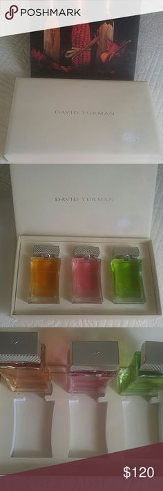David Yurman Eau De Toilette Set Omg! Hard to find full set. I have had this for some time and when I wiped it off I messed the top of the box up. 3 x 3.4 bottles. Only time I used was to try the scents on. David Yurman Other