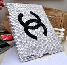 Wow. I so want one for my iPad3.   c Chanel Bling Crystal  case for ipad2 or  cover for ipad3  ipad shell  handmade DIY  clear hello kitty. $88.00, via Etsy.