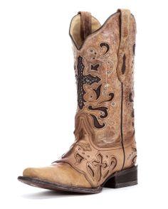 Corral Women's Antique Saddle Metal Cross Boot - C1167