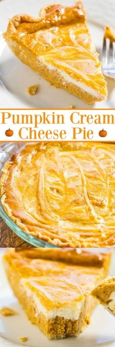 Pumpkin Cream Cheese Pie - Cream cheese is in the filling AND swirled on top!! A huge step up from regular pumpkin pie!! Easy, so good, and a big hit with everyone!!