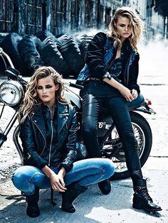★ Rock 'n' Roll Style ★ Edita Vilkeviciute & Magdalena Frackowiak by Lachlan Bailey for W Magazine 2013 Motorcycle biker girl