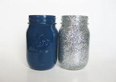 Dark Blue and Silver Glitter Mason Jar Set, Mason Jar Set, Navy Blue Mason Jar, Silver Mason Jar, Wedding