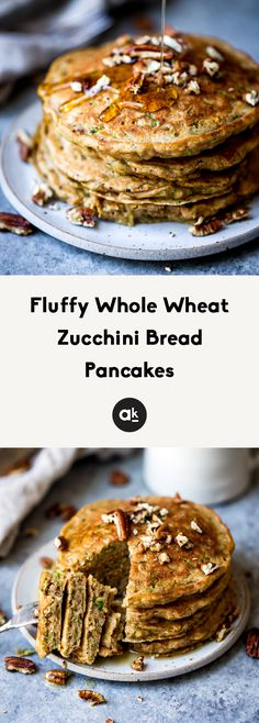 Fluffy whole wheat zucchini bread pancakes with hints of cinnamon and nutmeg. These pancakes taste like a slice of your favorite classic zucchini bread. Add chocolate chips or pecans if you'd like! Healthy Breakfast Recipes, Brunch Recipes, Sweet Recipes, Healthy Breakfasts, Healthy Eating, Healthy Food, Healthy Recipes, Clean Eating, Zuchinni Bread